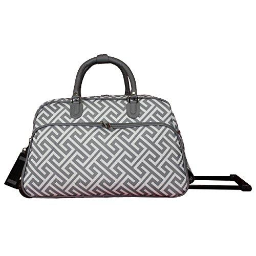 World Traveler 21-Inch Carry-On Rolling Duffel Bag - White Grey Greek Key