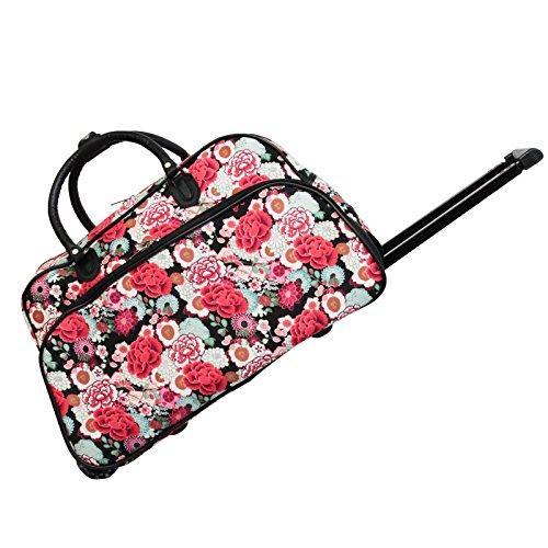 World Traveler 21-Inch Carry-On Rolling Duffel Bag - Black Trim Flowers
