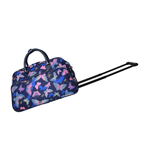 World Traveler 21-Inch Carry-On Rolling Duffel Bag - Blue Butterfly