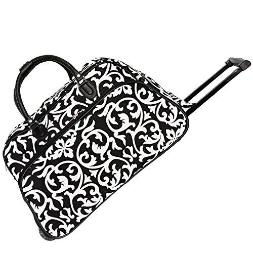 World Traveler 21-Inch Carry-On Rolling Duffel Bag - Black Trim Damask