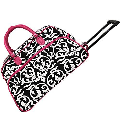 72cc10b518cb World Traveler 21-Inch Carry-On Rolling Duffel Bag - Pink Trim Damask -