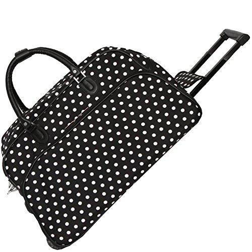 World Traveler 21-Inch Carry-On Rolling Duffel Bag - Black White Dot
