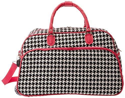 World Traveler 21-Inch Carry-On Rolling Duffel Bag - Fuchsia Trim Houndstooth