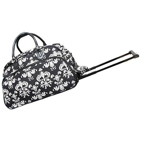 World Traveler 21-Inch Carry-On Rolling Duffel Bag - Black White Damask II