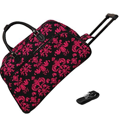 World Traveler 21-Inch Carry-On Rolling Duffel Bag - Black Pink Damask ll