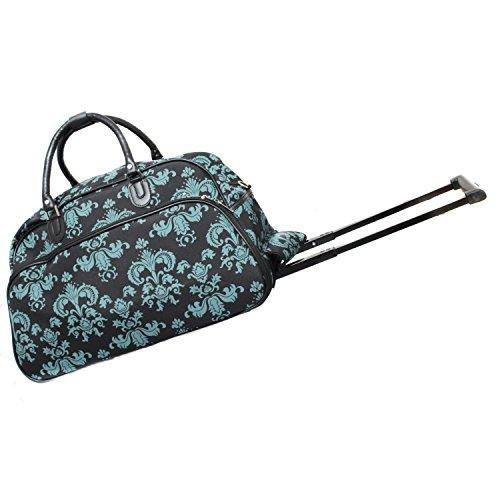 607a83669c World Traveler 21-Inch Carry-On Rolling Duffel Bag - Black Blue Damask ll