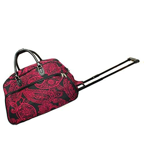 World Traveler 21-Inch Carry-On Rolling Duffel Bag - Black Pink Paisley