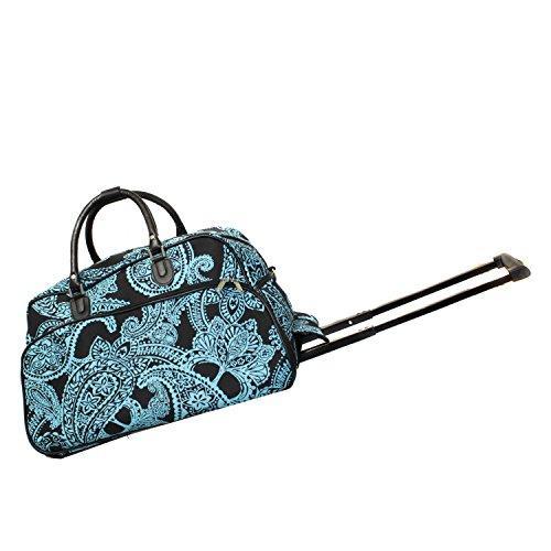 World Traveler 21-Inch Carry-On Rolling Duffel Bag - Black Blue Paisley