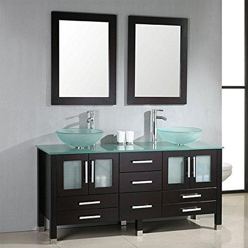 63 inch Solid Wood & Glass Double Vessel Sink Vanity Set with Polished Chrome Faucets