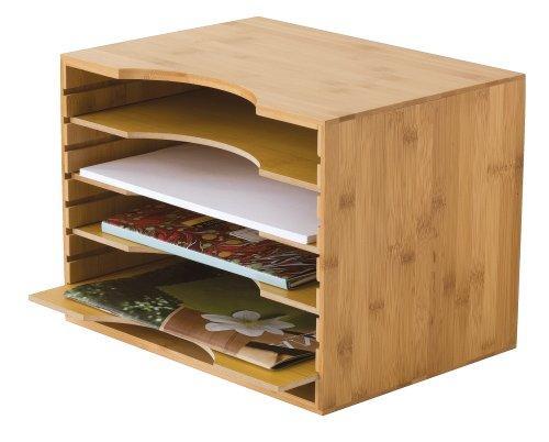 Bamboo File Organizer w/4-Dividers