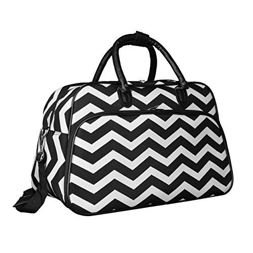 World Traveler 21-inch Carry-on Duffel Bag - Black White Chevron