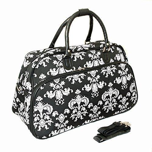 World Traveler 21-inch Carry-on Duffel Bag - Black White Damask II