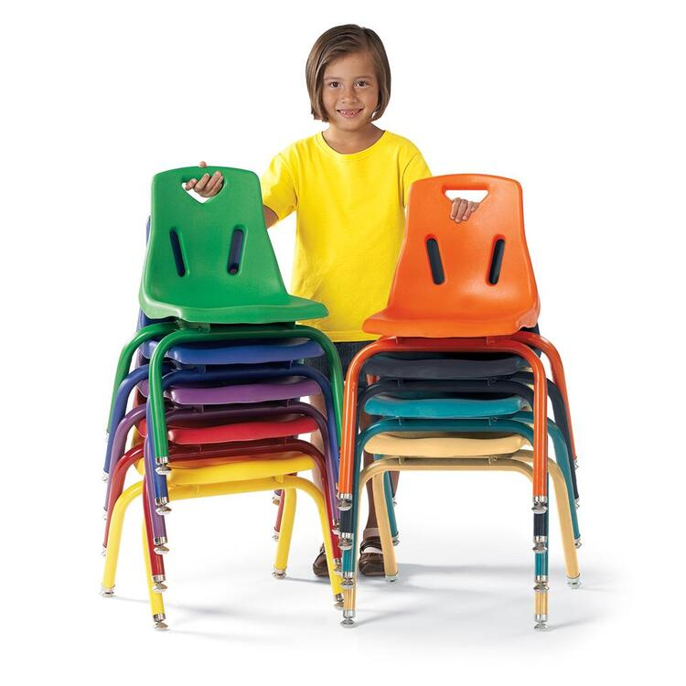 Berries® Stacking Chairs with Powder-Coated Legs Set of 6 - Navy