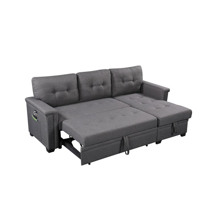 Lilola Home Ashlyn Gray Reversible Sleeper Sofa Storage Chaise with USB Charging Ports and Pocket