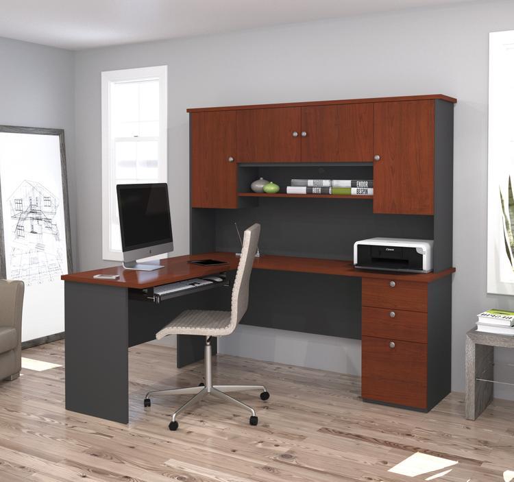 Bestar Manhattan L-shaped workstation in Bordeaux & Graphite
