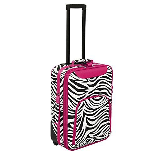 World Traveler 20-inch Carry-on Rolling Luggage - Pink Trim Zebra