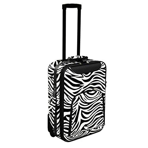 World Traveler 20-inch Carry-on Rolling Luggage - Black Trim Zebra
