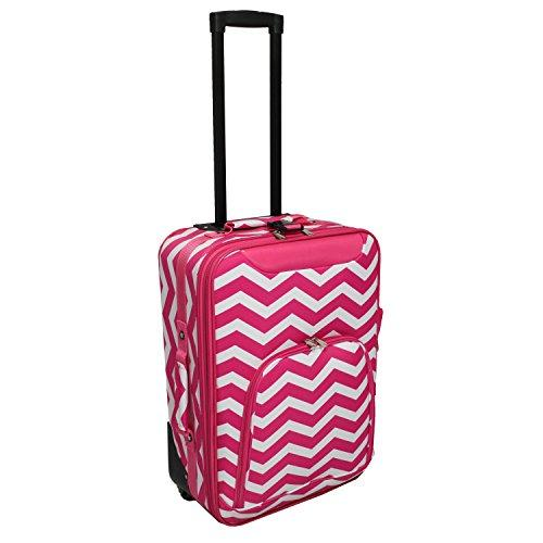World Traveler 20-inch Carry-on Rolling Luggage - Fuchsia White Chevron