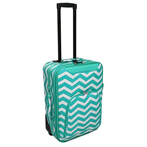 World Traveler 20-inch Carry-on Rolling Luggage - Light Blue White Chevron