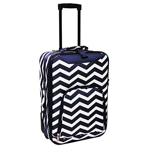 World Traveler 20-inch Carry-on Rolling Luggage - Navy White Chevron