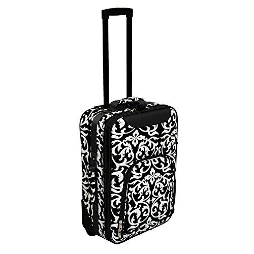 World Traveler 20-inch Carry-on Rolling Luggage - Black Trim Damask