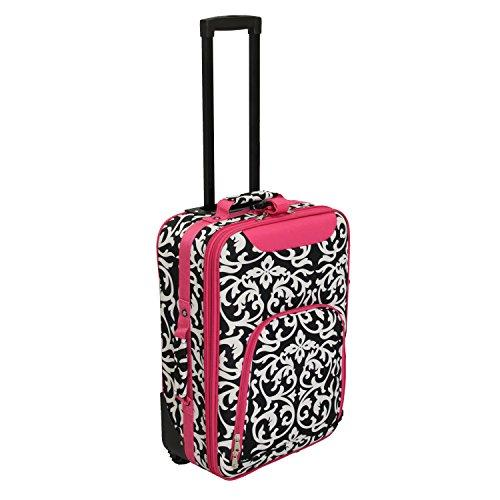 World Traveler 20-inch Carry-on Rolling Luggage - Fuchsia Trim Damask