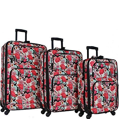 World Traveler 3-Piece Expandable Spinner Luggage Set - Flowers