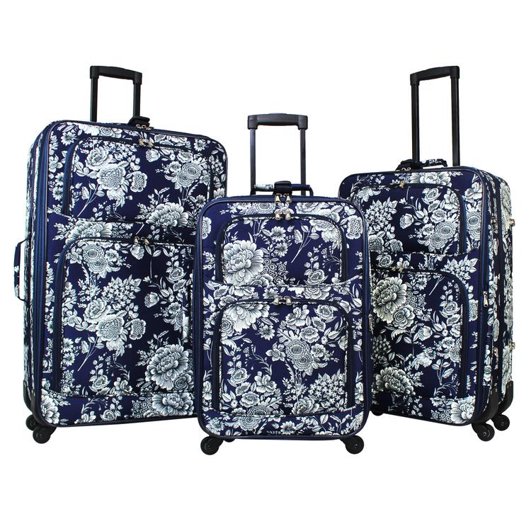 World Traveler 3-Piece Expandable Spinner Luggage Set - Navy White Flowers [Item # 818703-212]