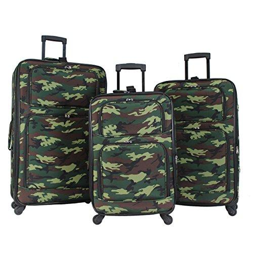 World Traveler 3-Piece Expandable Spinner Luggage Set - Green Camo