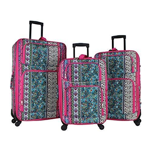 World Traveler 3-Piece Expandable Spinner Luggage Set - Bohemian
