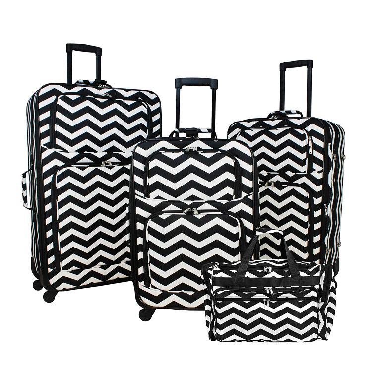6d4f17bc2 World Traveler 4-Piece Expandable Spinner Luggage Set - Black White Chevron  - [818703