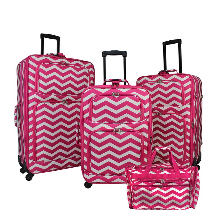 World Traveler 4-Piece Expandable Spinner Luggage Set - Fuchsia White Chevron