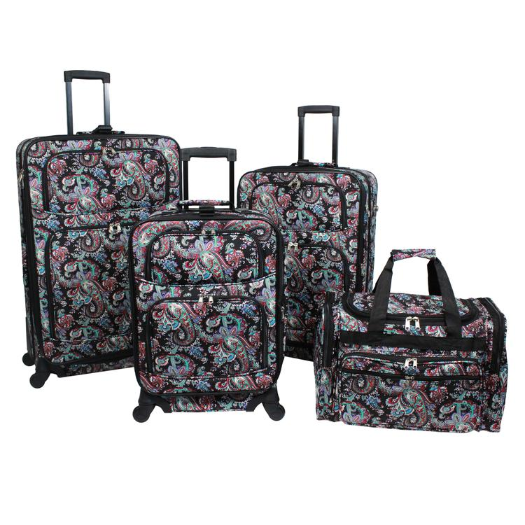 World Traveler 4-Piece Rolling Expandable Spinner Luggage Set - Paisley