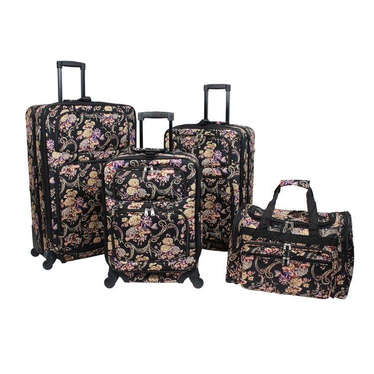 World Traveler 4-Piece Rolling Expandable Spinner Luggage Set - Classic Floral