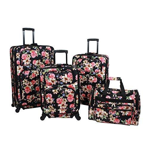 World Traveler 4-Piece Rolling Expandable Spinner Luggage Set - Flower Bloom