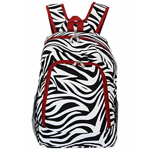 World Traveler 16-inch Multipurpose Backpack - Red Trim Zebra