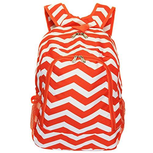 World Traveler 16-inch Multipurpose Backpack - Orange White Chevron [Item # 81BP5016-165OR/W]