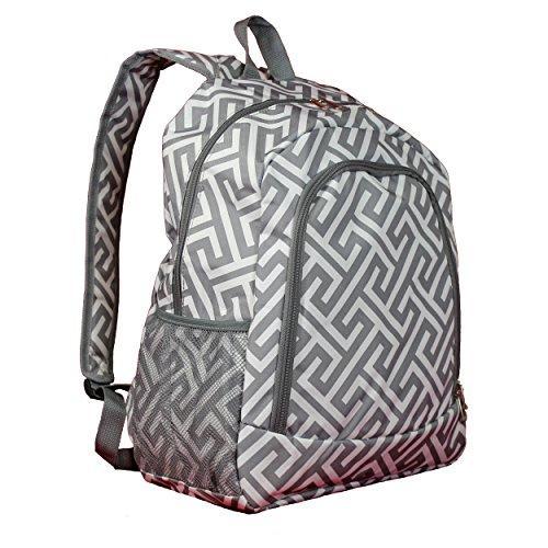 World Traveler 16-inch Multipurpose Backpack - Greek Key H Grey White