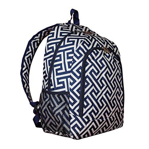 World Traveler 16-inch Multipurpose Backpack - Greek Key H Navy White