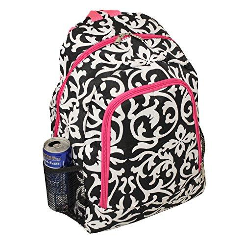 World Traveler 16-inch Multipurpose Backpack - Pink Trim Damask