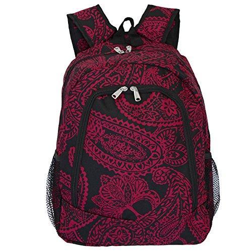 World Traveler 16-inch Multipurpose Backpack - Black Pink Paisley