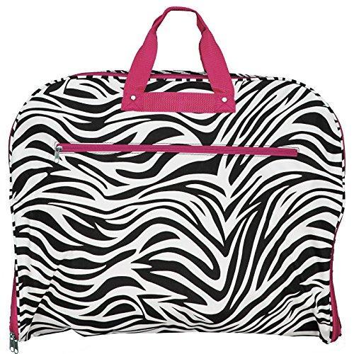 World Traveler 40-inch Hanging Garment Bag - Pink Trim Zebra