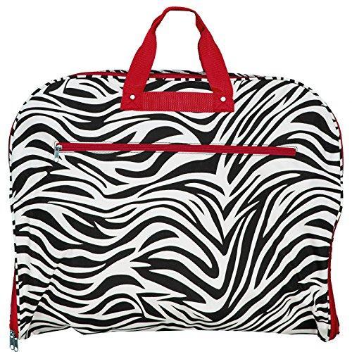 World Traveler 40-inch Hanging Garment Bag - Red Trim Zebra