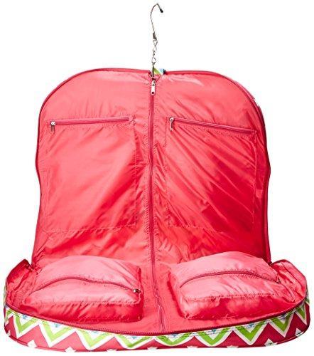 World Traveler 40-inch Hanging Garment Bag - Pink Trim Chevron Multi