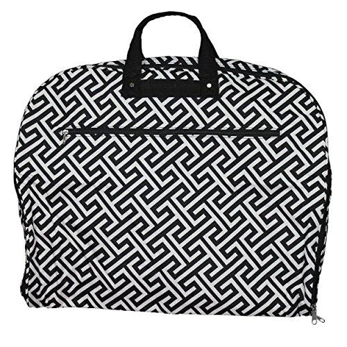 World Traveler 40-inch Hanging Garment Bag - Greek Key H Black White