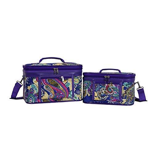 World Traveler 2-Piece Cosmetic Case Set - Purple Multi Paisley