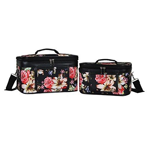 World Traveler 2-Piece Cosmetic Case Set - Rose Lily