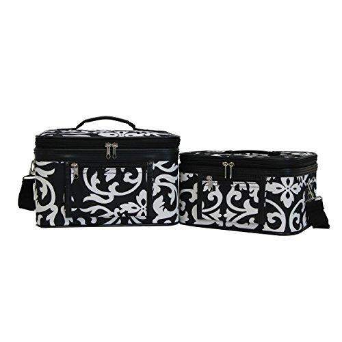 World Traveler 2-Piece Cosmetic Case Set - Black Trim Damask