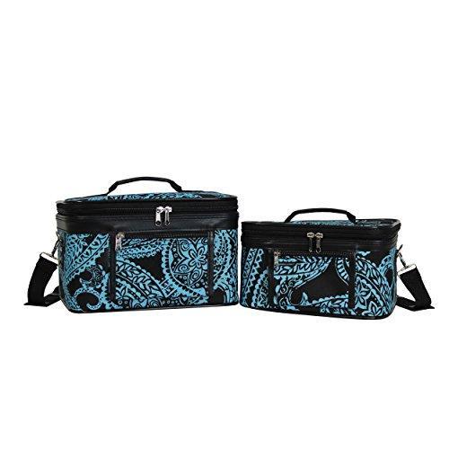 World Traveler 2-Piece Cosmetic Case Set - Black Blue Paisley