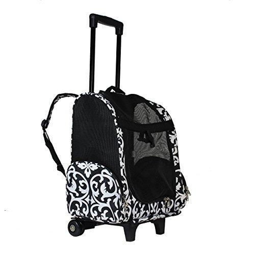 World Traveler 18-inch Rolling Pet Carrier Backpack - Black Trim Damask